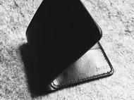 染色纯黑植鞣革短夹