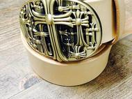 手工定制腰带 皮带 黄铜扣头 意大利植鞣革带条 38mm