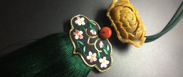手工原创黄翡芙蓉花项链