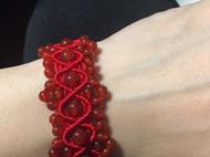 红玛瑙花边手链