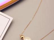 天然巴洛克珍珠金珠锁骨项链 欧美风 美国进口14k包金 纯手工 礼物女