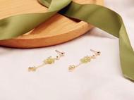 天然橄榄石珍珠后挂耳钉耳环 手工 美国进口14K包金 小清新新款女