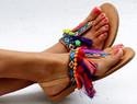 手工制作波西米亚风格夹脚凉鞋