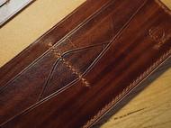 手工皮具【木紋染色長夾】