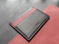 炭黑/波尔多红 拼色山羊皮卡包