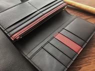 JUSTFREAKSHANDMADE炭黑/波尔多红 两折长钱包