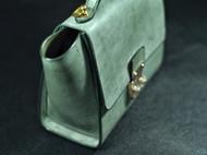 墨绿擦蜡植鞣革手提包