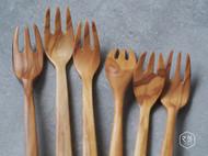 【之外】手工制 意大利橄榄木甜点叉 儿童叉系列 手工木器