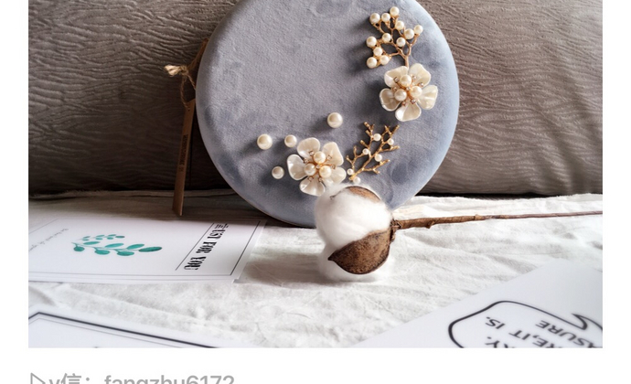 丝绒珍珠贝壳花朵配饰圆盒包