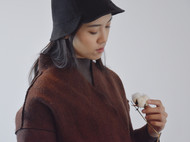 半弧形开衩亚麻棉砂洗优雅渔夫帽