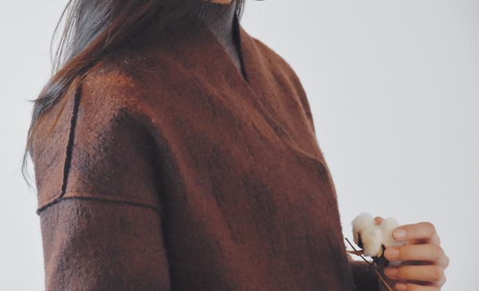 【山丘与水脉】长款羊羔毛大衣