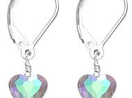 梦幻蓝紫色折射闪光切面爱心吊坠S925纯银耳环女