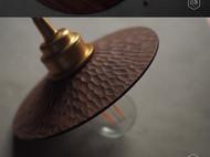 黑胡桃木 整木制作 手工刀痕黄铜复古吊灯