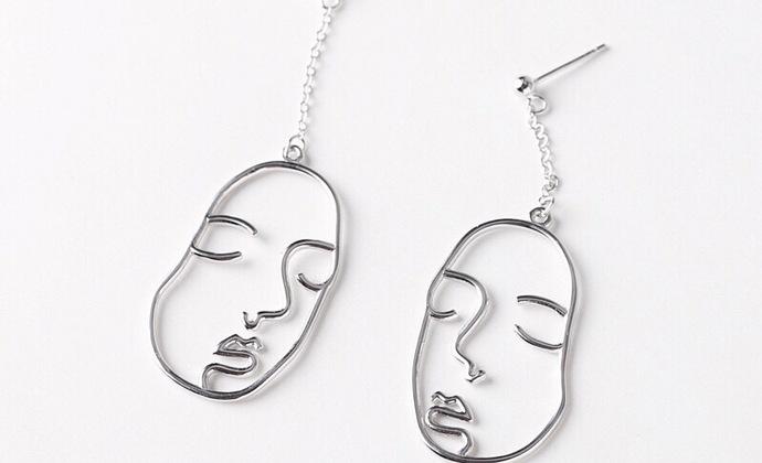 简约S925纯银耳环女抽象人脸轮廓人像个性女款耳坠欧美风耳环 耳饰品