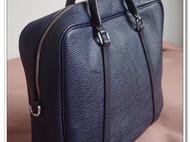 手缝 40cm墨蓝鲨鱼纹牛皮 软身版男士公文包