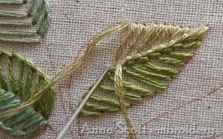 一个特别的叶子刺绣方法