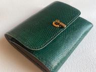 墨绿色蜥蜴三折钱包