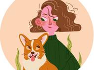 插画定制 我和我的狗狗