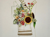 立体刺绣之《瓶中花》