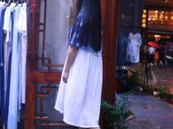 扎染蜡染蓝染植物染连衣裙简约indigo蓝染袍