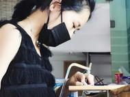 手工纯银南宋龙泉窑瓷片耳钉