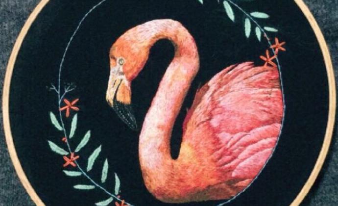 欧式刺绣——火烈鸟