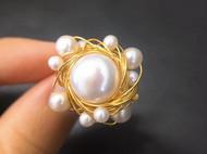 14k注金纯手工绕线珍珠戒指