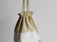 柞蚕丝拼接款水桶布包挎包