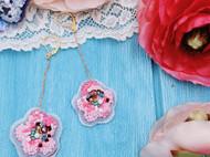樱花-繁花系列手作米珠毛线刺绣耳环