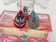 小树叶-繁花系列手作珠绣耳环