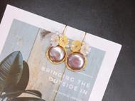 天然妖紫纽扣珍珠 绕线耳坠