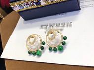 手工制作 多珠双圈耳环 天然绀青翡翠 搭配baby高品质天然淡水珍珠