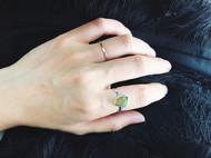 原石纯银戒指