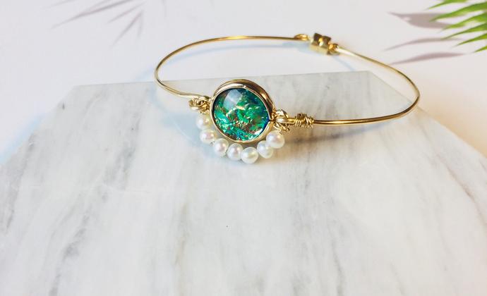 手工绕线复古珍珠手环