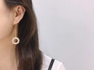 小香风 进口14k注金手工绕线甜甜圈珍珠项链 耳坠