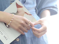 ins超火 进口14注金纯手工绕线编织流苏珍珠项链 戒指
