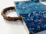 indigo 蓝染 手提拼接老布包