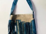 indigo 蓝染 植物染 竖条纹老麻布拼布挎包