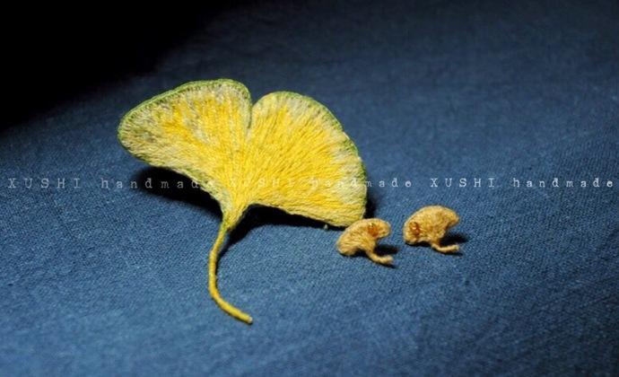手工刺绣银杏胸针 耳钉组