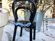 手工立体刺绣-包真金天使的翅膀项链14k耳钉套装