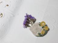飞鸟与角堇刺绣胸针