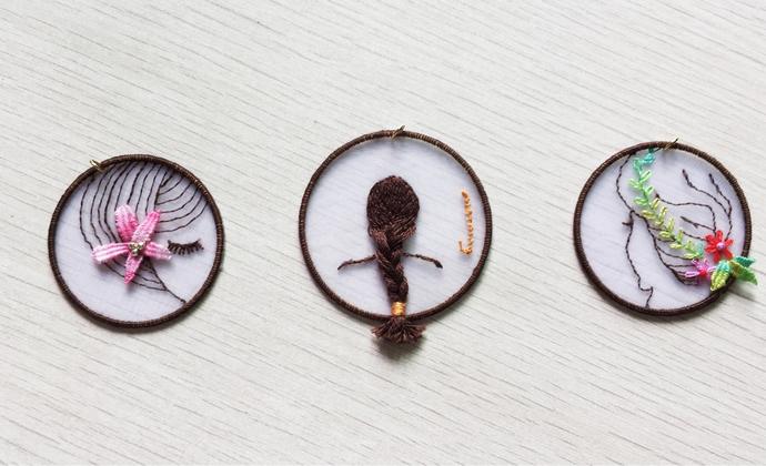 立体刺绣书签-女孩