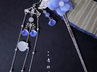 幽兰彩琉璃蝴蝶与花单簪