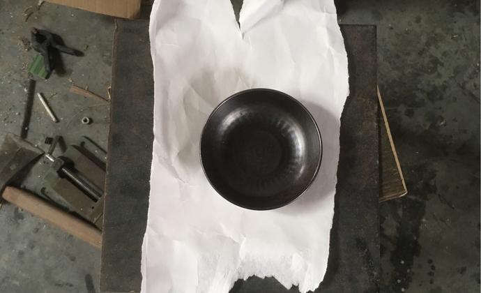 手工黑釉小浅碗 壶承 孤品