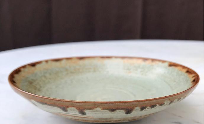 日式侘寂 志野烧  陶盘 果子盘 沙拉盘 点心盘 皿 窑变 自然流釉