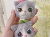 羊毛毡小猫猫头情侣挂件~