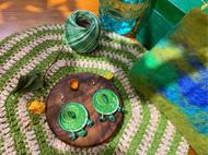 布兮手工刺绣镶嵌红绿宝纯银耳饰耳环