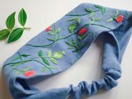 石榴花图案刺绣发带