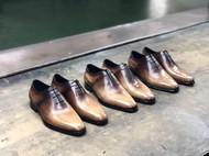 木纹复古手工三孔牛津鞋