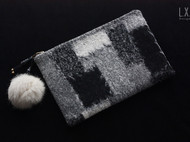 【L.X.B私人设计】羊毛呢拼pu小手包